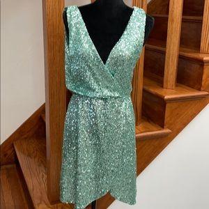ASOS TFNC London Mint Green Sequin Wrap Dress